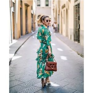 Alice + Olivia Coco Green Floral Chiffon Dress